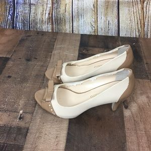 Franco Sarto beige/cream spectator peep toe heels